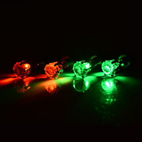 Set of 2 -  White Austrian Crystal with Red and Green LED Light Stud Earrings (with Push Back) in Silver Tone