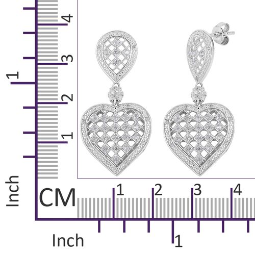 Natural White Cambodian Zircon (Rnd) Heart Earrings (with Push Back) in Rhodium Plated Sterling Silver 1.200 Ct. Silver wt 7.70 Gms.