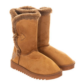 GURU Womens Winter Fluffy Ankle Boots with Button Closure in Tan