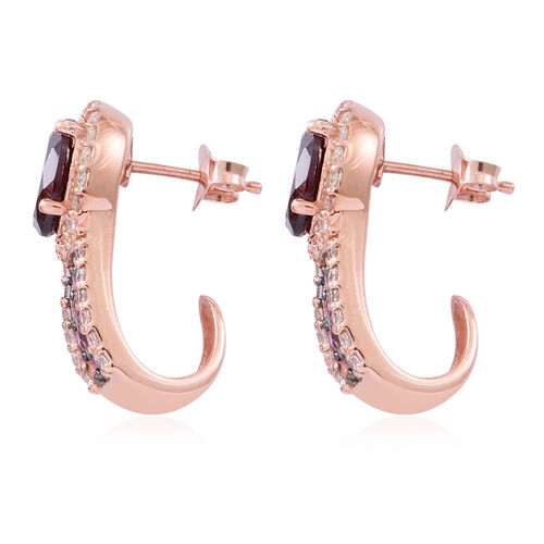 Rhodolite Garnet (Ovl), Natural White Cambodian Zircon J Hoop Earrings (with Push Back) in Rose Gold Overlay Sterling Silver 7.000 Ct. Silver wt. 5.60 Gms.