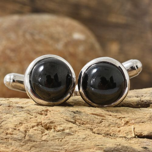 12 Carat Boi Ploi Black Spinel Cufflinks in Platinum Plated Silver 6.88 grams