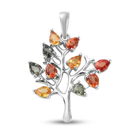 Rainbow Sapphire Tree Pendant in Platinum Overlay Sterling Silver 1.67 ct.