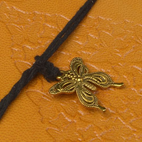 Embossed Leather Notebook with Butterfly Charm (Size 17.78x12.7 Cm) - Mustard