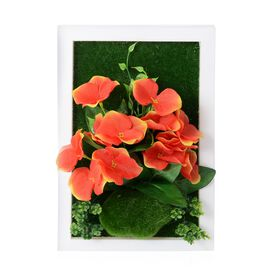 Home Decor - Wall Hanging Artificial Narcissus Flower Frame (Size 29.5x19 Cm) - Colour Orange,Green
