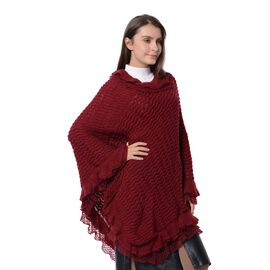 Chevron Pattern Poncho with Falbala Design (Free Size) Wine Red Colour