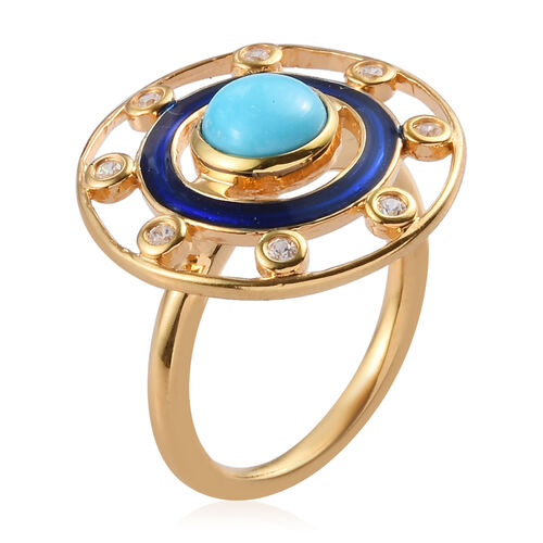 Arizona Sleeping Beauty Turquoise and Natural Cambodian Zircon Enamelled Ring in 14K Gold Overlay Sterling Silver 1.00 Ct.
