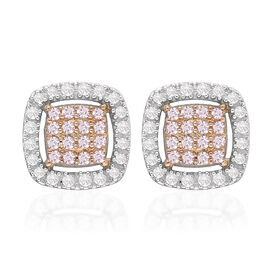 9K Yellow and White Gold Natural Pink Diamond and White Diamond (I3) Stud Earrings (with Push Back)