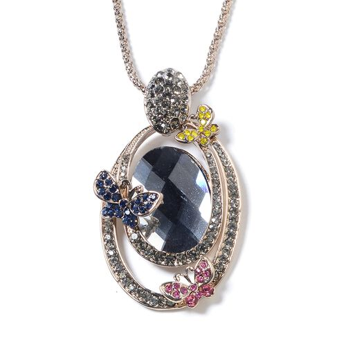 Simulated Grey Spinel (Ovl), Multi Colour Austrian Crystal Pendant With Chain (Size 30 and 2 inch Extender) in Silver Tone