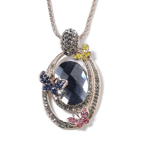 Simulated Grey Spinel (Ovl), Multi Colour Austrian Crystal Pendant With Chain (Size 30 and 2 inch Ex