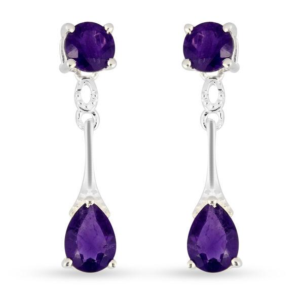 2 Carat Amethyst Dorp Earrings in Sterling Silver