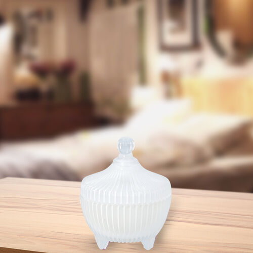 The 5th Season - Scented Candle with Rose Quartz in White Striped Glass Container