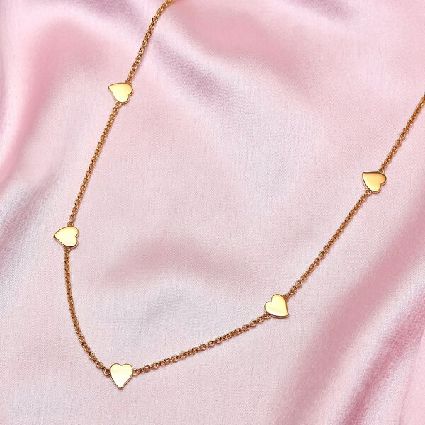 RACHEL GALLEY Heart Collection - Rose Gold Overlay Sterling Silver Heart Station Necklace (Size 26), Silver wt 12.43 Gms