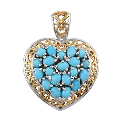 Arizona Sleeping Beauty Turquoise (Pear) Heart Pendant in Platinum and Yellow Gold Overlay Sterling Silver 3.000 Ct.