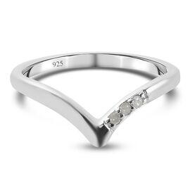 Diamond Wishbone Ring in Platinum Overlay Sterling Silver