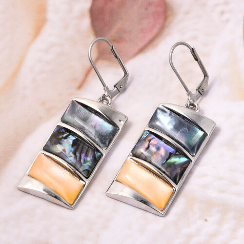 Abalone Shell, Brown Shell and Yellow Shell Earrings in Stainless Steel