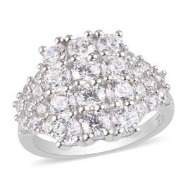 J Francis Platinum Overlay Sterling Silver Cluster Ring Made with SWAROVSKI ZIRCONIA 5.16 Ct.