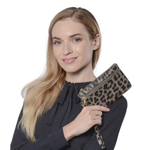 Set of 2 - 100% Genuine Leather Coffee and Black Leopard Pattern RFID Clutch Wallet (18x10cm, 15x9cm)