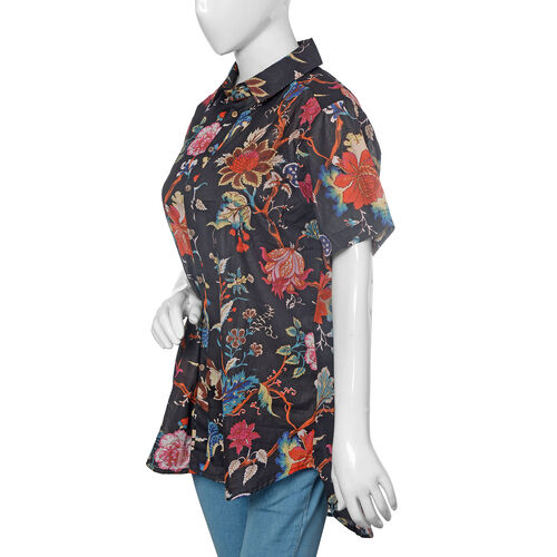 Designer Inspired-100% Cotton Black, Red and Multi Colour Flower and Leaves Pattern Apparel (Size 77x57 Cm)