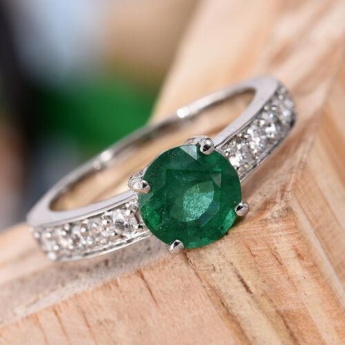 RHAPSODY 950 Platinum AAAA Kagem Zambian Emerald (Rnd 1.25 Ct), Diamond (VS/E-F) Ring 1.550 Ct.