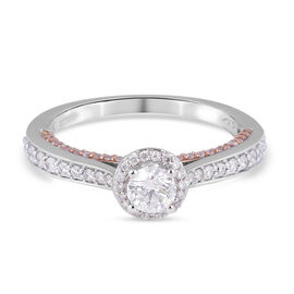 NY Close Out-14K White and Rose Gold Diamond (I1-I2/G-H) Ring 0.80 Ct.