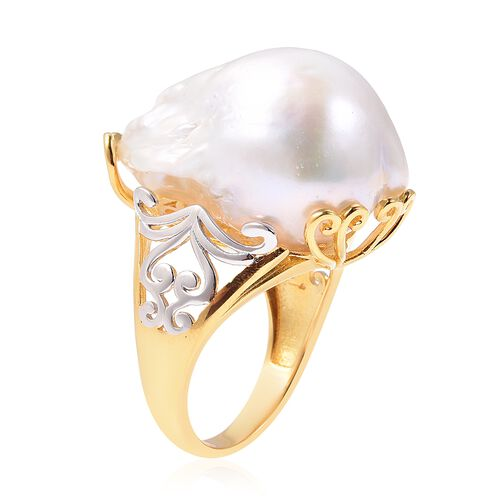 White Baroque Pearl Ring in Two Tone Overlay Sterling Silver