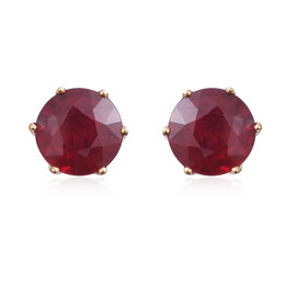 Signature Collection - ILIANA  18K Y Gold AAA African Ruby (Rnd 10mm) Solitaire Stud Earrings 11.330 Ct.