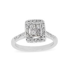 9K White Gold Diamond (I3/G-H) Ring 0.50 Ct.