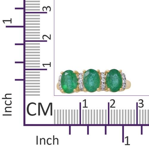 9K Yellow Gold Kagem Zambian Emerald (Ovl), Natural White Cambodian Zircon Ring 2.650 Ct.