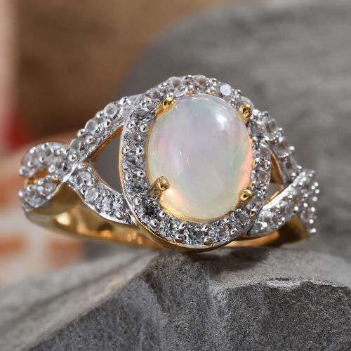 Wegeltena Ethiopian Welo Opal (Ovl 9x7mm) and Natural Cambodian Zircon Ring in 14K Gold Overlay Sterling Silver 2.290 Ct.
