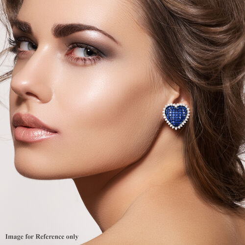 Lustro Stella - Mystery Setting Simulated Blue Sapphire and Simulated Diamond Heart Earrings (with Clasp) in Rhodium Overlay Sterling Silver