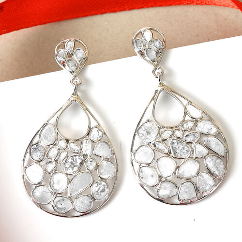 Artisan Crafted Polki Diamond Dangle Earrings (with Push Back) in Platinum Overlay Sterling Silver 4.30 Ct.