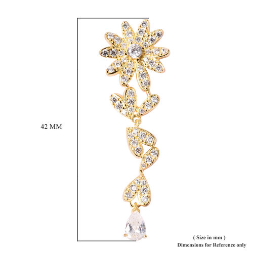 J Francis - Yellow Gold Overlay Sterling Silver Floral Dangle Earrings (with Push Back) Made with SWAROVSKI ZIRCONIA, Silver wt. 5.99 Gms.