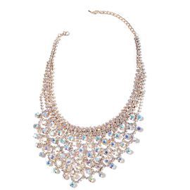 Magic Colour Austrian Crystal (Rnd) Necklace (Size 22) in Yellow Gold Tone