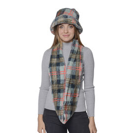 2 Piece Set - Plaid Pattern Faux Fur Hat (70x20cm) and Scarf (16x160cm) - Teal and Green