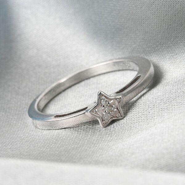 MP Diamond Star Stacker Platinum Overlay Sterling Silver