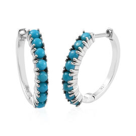 AA Arizona Sleeping Beauty Turquoise (Rnd) Hoop Earrings (with Clasp Lock) in Platinum Overlay Sterl