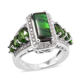 AA Canadian Ammolite (Bgt 12x5 mm), Russian Diopside and Natural White Cambodian Zircon Ring in Rhod