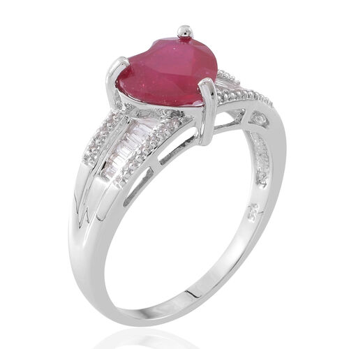 Designer Inspired- African Ruby (Hrt 3.30 Ct), Natural White Cambodian Zircon Ring in Rhodium Plated Sterling Silver 4.500 Ct.