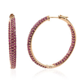 Burmese Ruby (Rnd) Hoop Earrings (with Clasp) in Yellow Gold Overlay Sterling Silver 7.650 Ct. Silver wt 14.00 Gms. Number of Gemstone 180.