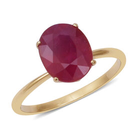 9K Yellow Gold AA African Ruby (Ovl 11x9 mm) Ring 5.570 Ct.