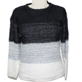 SUGAR CRISP Striped Fluffy Jumper - Black and White