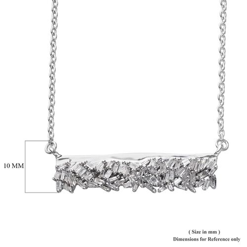 GP - Diamond and Blue Sapphire Necklace (Size 18) in Platinum Overlay Sterling Silver 0.50 Ct.