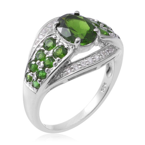 Russian Diopside (Ovl 9x6 mm), Natural Cambodian White Zircon Sterling Silver 3.290 Ct,Silver wt 5.85 Gms.