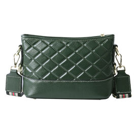Genuine Leather Quilted Pattern Crossbody Bag - Green