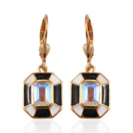 Mercury Mystic Topaz Lever Back Earrings in 14K Gold Overlay Sterling Silver 2.25 Ct.