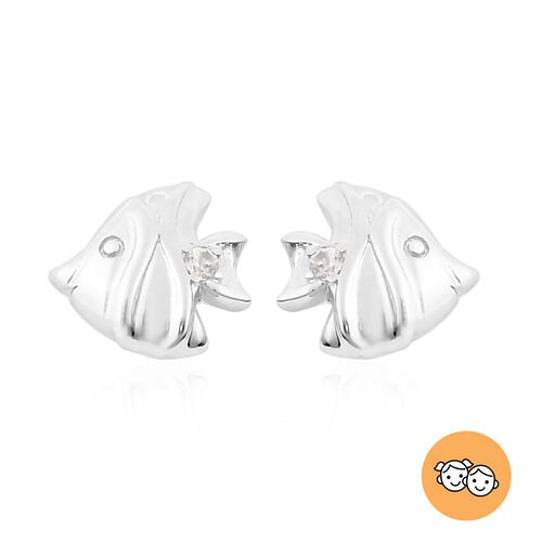 RACHEL GALLEY - Natural Cambodian Zircon Fish Stud Earrings (with Push Back) in Rhodium Overlay Ster