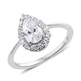 J Francis - 9K White Gold Halo Ring (Size N) Made with SWAROVSKI ZIRCONIA