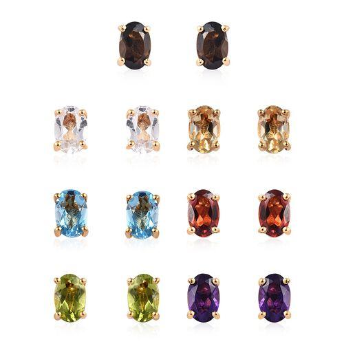 Set of 7  - Blue Topaz (Ovl), Multi Gemstone Stud Earrings (with Push Back) in 14K Gold Overlay Ster