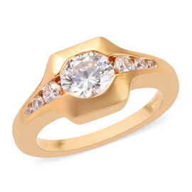 J Francis Made with SWAROVSKI ZIRCONIA Solitaire Ring in Gold Plated Sterling Silver