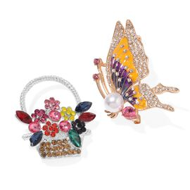 Set of 2 - Multi Colour Austrian Crystal, Simulated Pearl Butterfly and Basket Brooch in Gold Tone